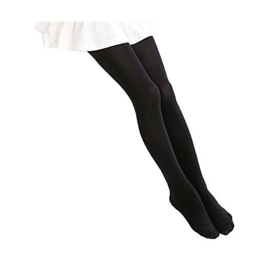 c717d2cde3cb3 BogiWell Kids Girls Solid Footed Tights Seamless Opaque Pantyhose Stockings  Black(US 3-5Y