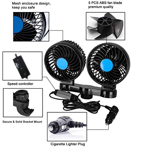 Car Fans, Electric Auto Cooling Fan, 12V with 360° Rotatable Dual Head  Adjustable Speed Rear Seat Air Fan for Sedan SUV RV Boat (12 V)
