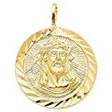 14k Yellow Gold Diamond-cut Face of Jesus Medallion Pendant