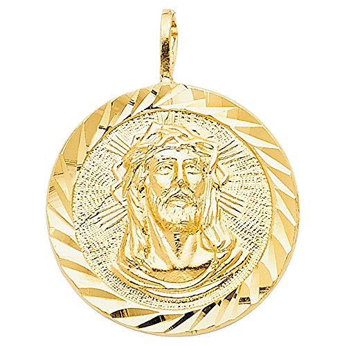 14k Yellow Gold Diamond-cut Face of Jesus Medallion Pendant by Precious Stars
