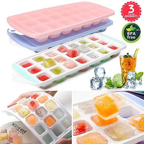 Ice Cube Trays 3 PACKS,Food Grade Flexible Silicone Ice Trays Molds with Lids, Easy Release Ice Trays Make 63-Ice Cube, Stackable Dishwasher Safe, Non-toxic,BPA Free