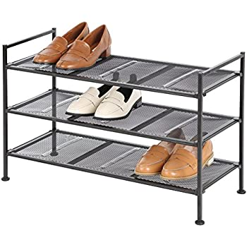 Tidy Living Classics 3-Tier Mesh Utility Shoe Rack, Brown