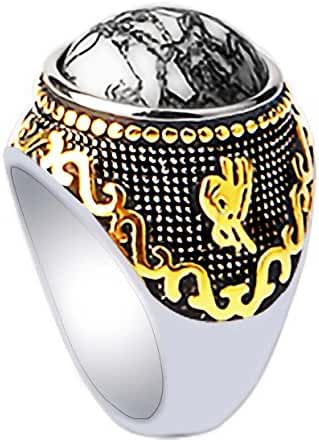 Stainless Steel 18k Real Gold Plated Ring for Men Women by PINONLY Turquoise Gemstone Ring
