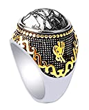Stainless Steel 18k Real Gold Plated Ring for Men Women by PINONLY Turquoise Gemstone Statement Ring-Thick and Heavy