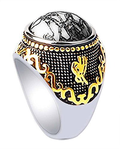 PINONLY Stainless Steel 18k Real Gold Plated Ring for Men Women Turquoise Gemstone Statement Ring-Thick and Heavy - Mens Class Rings