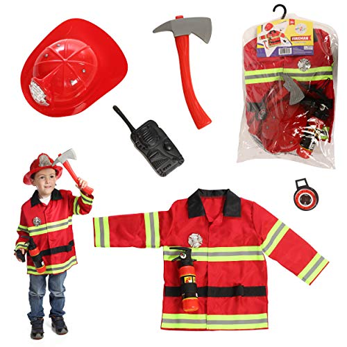 Dress to Play Firefighter Pretend Costume, Dress up Set with Accessories; 5 Pcs Included