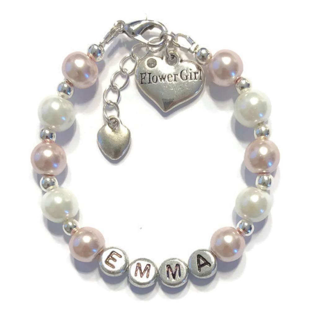 Personalized Flower Girl Charm Bracelet-Wedding Gifts-Beaded Glass Pearls Bracelet for Kids Girls Women Ladies Teen