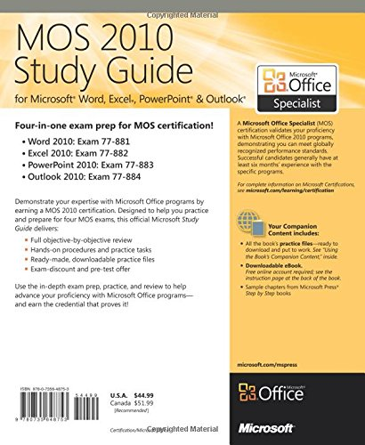 amazon mos 2010 study guide for microsoft word excel
