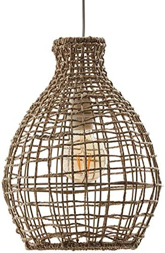 Rivet Modern Woven Jute Round Shade Ceiling Pendant Chandelier with Light Bulb – 10.65 x 10.65 x 87 Inches, Natural