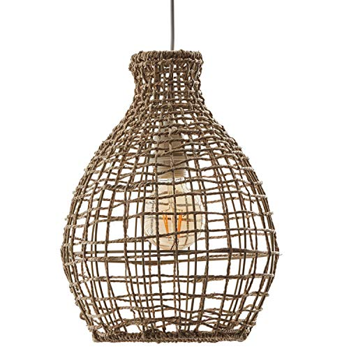 Rivet Modern Woven Jute Round Shade Ceiling Pendant Chandelier with Light Bulb - 10.65 x 10.65 x 87 Inches, Natural (Light Pendant Rattan Round)