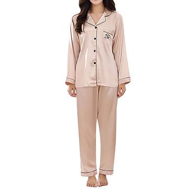 2d1a13198c Malloom Pijamas de Traje de Mujer Pijamas Mujer Primavera simulación Seda  Manga Larga Pijamas caseros  Amazon.es  Ropa y accesorios