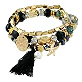 Product review for YAZILIND Women Bohemian Ethnic Thread Tassel Pearl Starfish Beads Gold Plated Tennis Bracelet Vintage Dainty Multiple Jewelry
