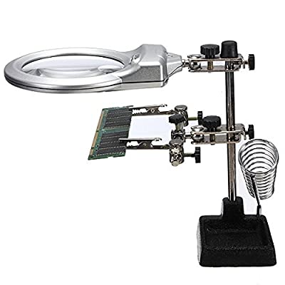 Helping Hands Clamp Clip LED Lights Glass Magnifier With Soldering Stand Tools