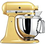 KitchenAid Artisan 5KSM175PSEMY 5 Qt.Stand Mixer Majestic Yellow with TWO Bowls & Flex Edge Beater 220 VOLTS NOT FOR USA