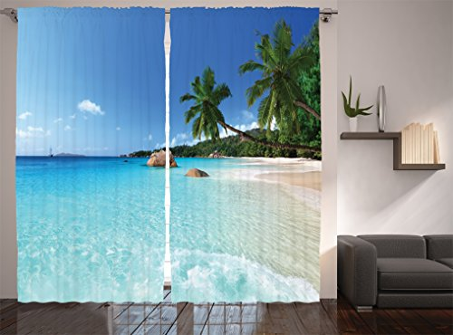 Living Room Curtains Ocean Decor By Ambesonne, Anse Lazio Beach At Praslin  Island And Surf Beach Window Treatments Living Room Bedroom Curtain 2  Panels Set ...