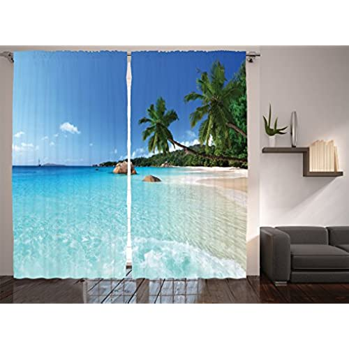 Living Room Curtains Ocean Decor By Ambesonne Anse Lazio Beach At Praslin Island And Surf Window Treatments Bedroom Curtain 2 Panels Set