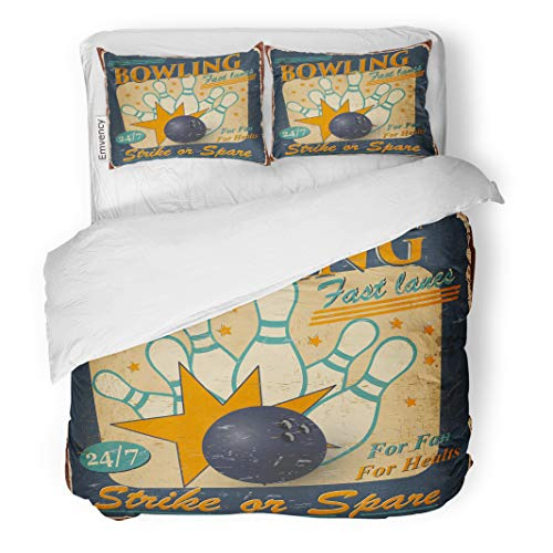 Semtomn Decor Duvet Cover Set Full/Queen Size Retro Vintage Bowling 1950S Party Strike 1960S Aged Antique 3 Piece Brushed Microfiber Fabric Print Bedding Set Cover ()