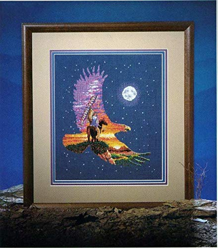 Zamtac Gold Collection Lovely Counted Cross Stitch Kit Spirit of The Eagle Flight Soaring Starry Night Moon dim 00247 - (Cross Stitch Fabric CT Number: 14CT unprint Canvas)