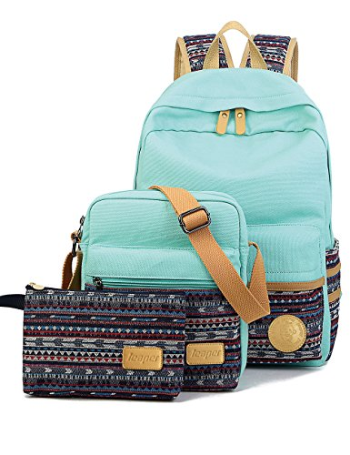 Leaper Casual Style Lightweight Canvas Laptop Bag Cute School Backpack Shoulder Bag Pencil Case 3PCS Set (Water Blue) by Leaper
