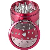 weed grinder acrylic - SAVAGE SHREDDER (RED) - Large Herb Grinder, 4 Four Piece with Pollen Catcher, Converts to On-the-go Pocket Grinder, Premium Grade Aluminum, Clear Acrylic Window, 3.5 inches tall