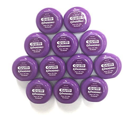 GUM Expanding Dental Floss, 4yd / 3.6 m Travel Tub #2030A - Pack of 12 by Sunstar