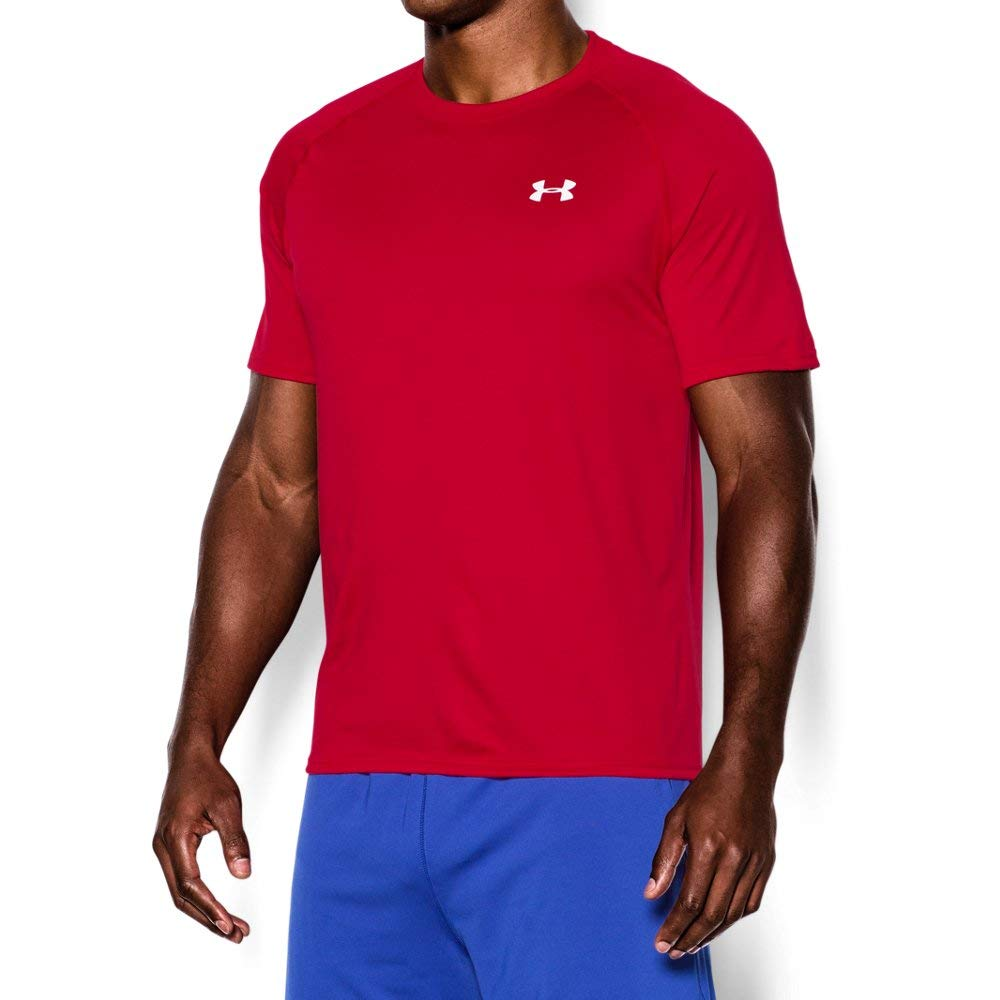 Men's UA Tech™ Shortsleeve T-Shirt Tops by Under Armour (Red/White, Small)