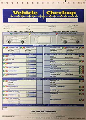 Vehicle Checkup Multi Point Inspection Form 7290 (5 Color) 250/Pack (W2)