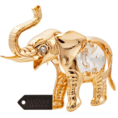 24K Gold Plated Crystal Studded Baby Elephant Ornament by Matashi (Crystal Mother Elephant)