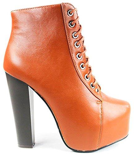 Jjf Shoes Jd09 Cognac In Similpelle Stringate Con Tacco Grosso Stivaletti Con Plateau Con Tacco Alto-8.5