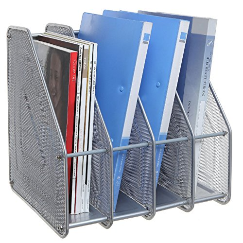 Silver Mesh Metal 4 Compartment Freestanding Desktop Document File Folder Organizer Stand / Magazine Rack