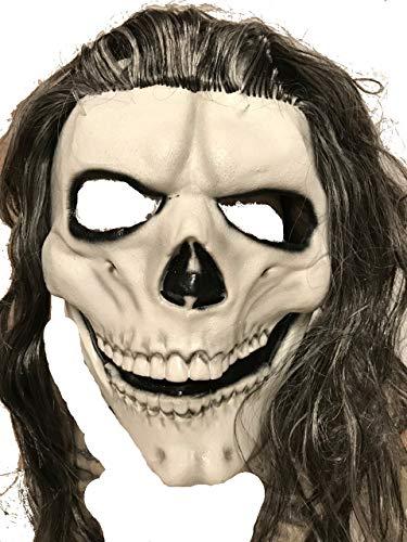 Skeleton Mask with Black & Grey Hair Pale Green]()