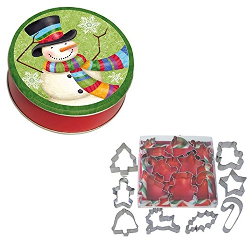 Snowman Cookie Tin (Christmas Cookie Cutter Variety Pack Assortment Set of 8 and Snowman Holiday Cookie Tin with Lid Bundle: Christmas Tree, Gingerbread Man, Bell, Star, Candy Cane, Teddy Bear, Mistletoe, and Reindeer)
