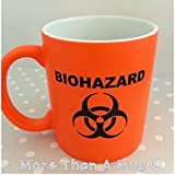 Science mug BIOHAZARD MUG Neon Orange scientist gift birthday present by More than a mug