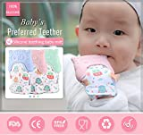 Teething Mitten Owl Teething Toy for Babies Self-Soothing Pain Relief and Teething Mitt BPA FREE Safe Food Grade Teething Mitt for 3 Months+ (Pink, One Mitten)