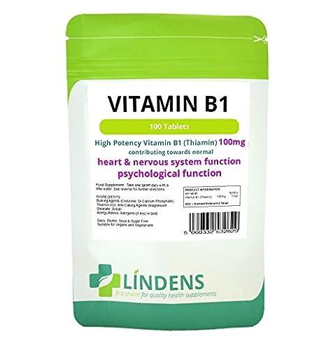 Lindens Vitamina B1 Tiamina 3-PACQUETE 300 tabletas B 1 B-1 calidad natural de tiamina: Amazon.es: Salud y cuidado personal