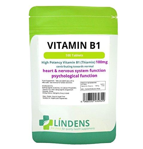Lindens Vitamin B1 Thiamin 3-Pack 300 Tablets B 1 B-1 Thiamine Natural Quality