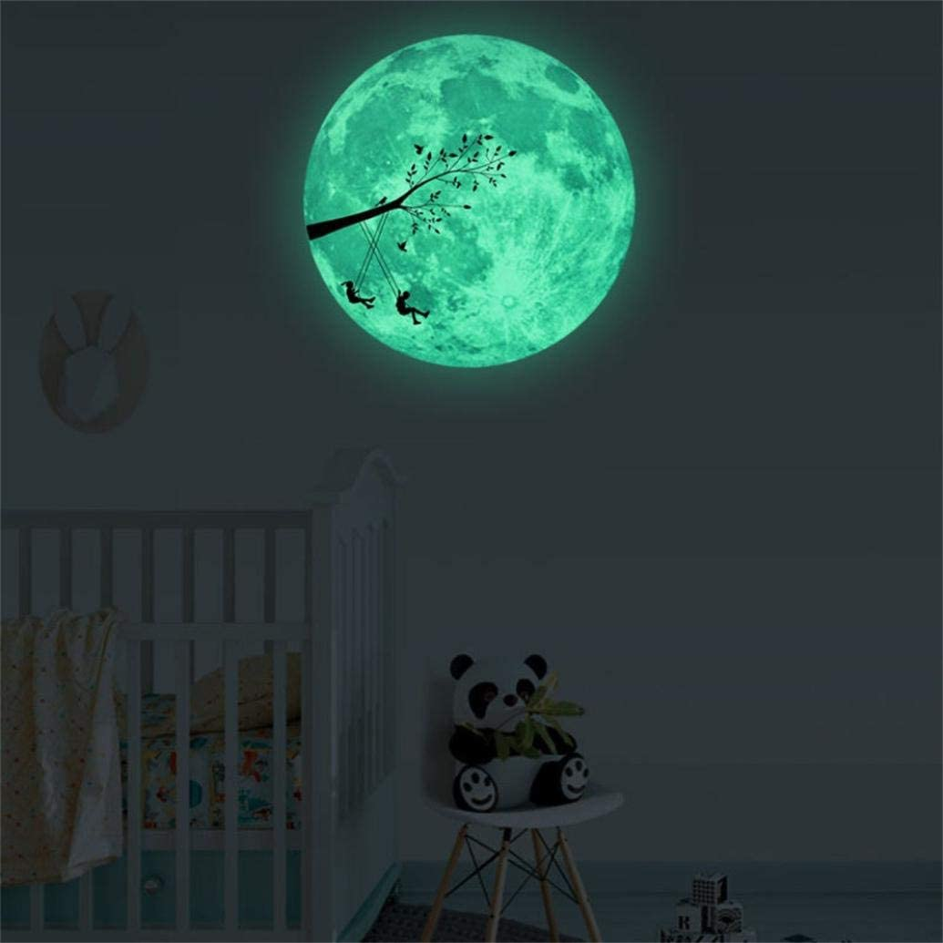 Alelife 3d Large Moon Fluorescent Wall Sticker Removable Glow In