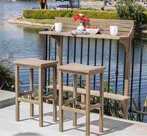 Luca Outdoor- Sunroom Furniture- Out Door Patio Furniture- Grey Acacia Wood Three Piece Balcony Set - Great for Summer Barbecues, Garden Parties, and Afternoons Spent Lounging