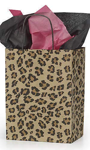 25 Medium Leopard Shopping Merchandise Paper Kraft Bags