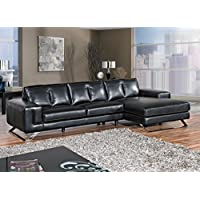 Cortesi Home Contemporary Manhattan Genuine Leather Sectional Sofa with Right Facing Chaise Lounge, Black 116 Wide