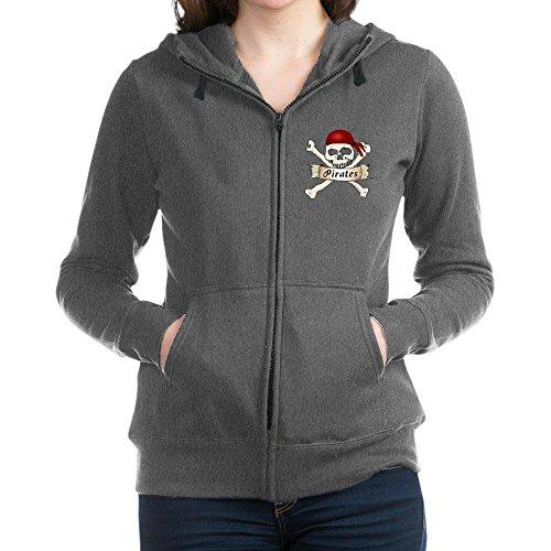 Truly Teague Women's Zip Hoodie (Dark) Simply Pirates Skull & Crossbones - Charcoal Heather, Large