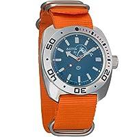 Vostok Amphibian Scuba Dude Automatic Mens WristWatch Self-winding Military Diver Amphibia Ministry Case Wrist Watch #710059 (orange)