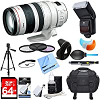 Canon (9322A002) EF 28-300mm IS L USM Lens w/ Ultimate Accessory Bundle includes Lens, 64GB SDXC Memory Card, Flash, Flash Cover, Tripod, 77mm Filter Kit, Lens Hood, Bag, Cleaning Kit, Blower & More