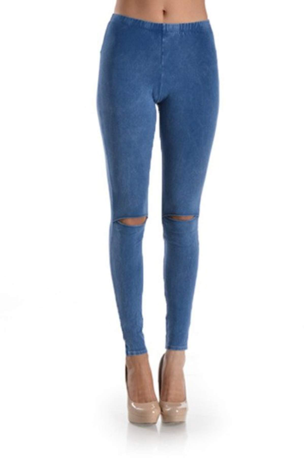 T Party Womens Knit Legging with Slit Detail, Metallic Foil Pattern, and Elastic Waistband. Mid Rise (Denim Blue, X-Large)