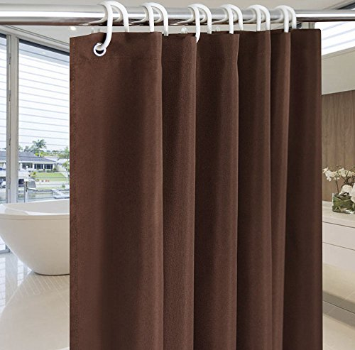 Coffee Shower Curtains for Bathroom, Solid Color Shower Curtain Mildew Resistant, 54-Inch x 72-Inch