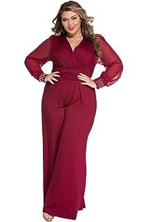 c0bea0d2269d Cokar Womens Plus Size Jumpsuits Long Sleeve V-Neck Casual Style Set Black