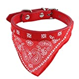 sourcingmap a15071600ux0543 Faux Leather Belt Pet Cat Dog Bandana Collar Triangular Binder Red