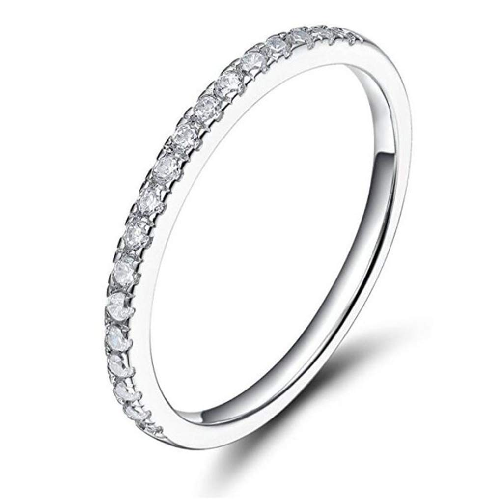 FENDINA Womens Titanium Eternity Rings Cubic Zirconia Wedding Engagement Band