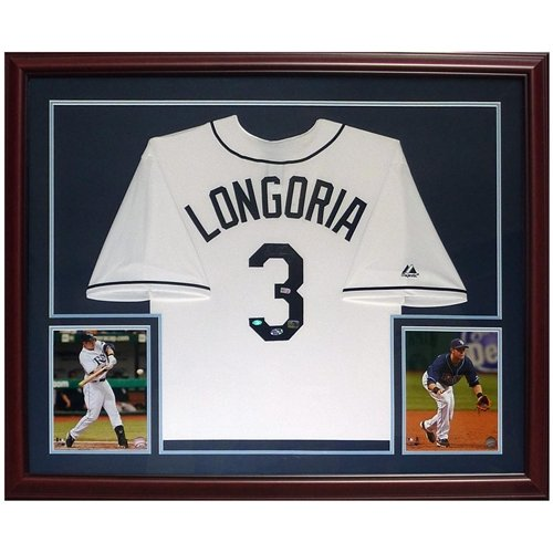 Evan Longoria Autographed Tampa Bay Rays (White #3) Deluxe Framed Jersey - Longoria Holo