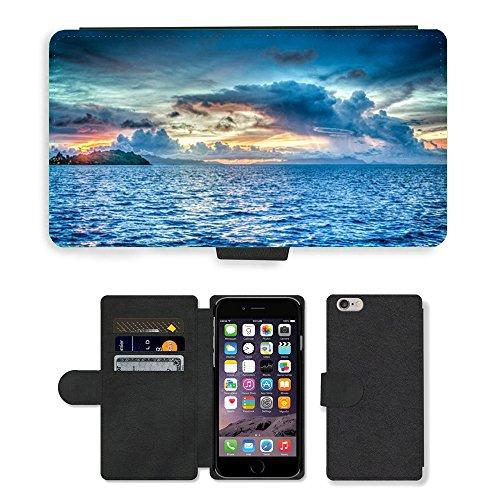 """PU Leather Cover Custodia per // M00421579 Bora Bora Polynésie française Sunset // Apple iPhone 6 4.7"""""""